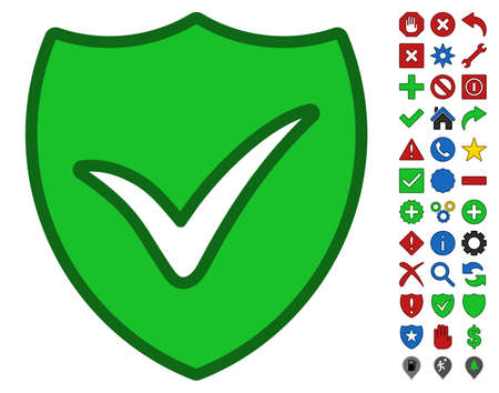 verify: Shield Ok interface pictogram with bright toolbar icon clip art. Glyph pictogram style is flat symbols with contour edges.