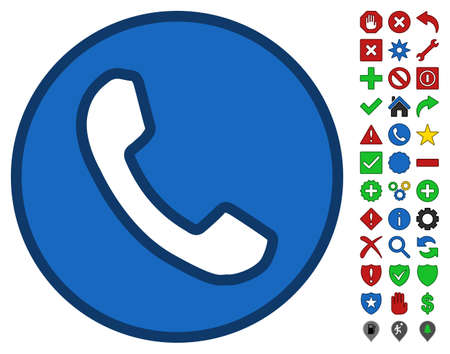 phone receiver: Phone Receiver interface icon with bright toolbar icon set. Glyph pictograph style is flat symbols with contour edges.