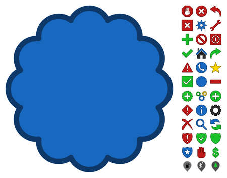 postage: Stamp Shape toolbar icon with bright toolbar icon set. Glyph pictogram style is flat symbols with contour edges.