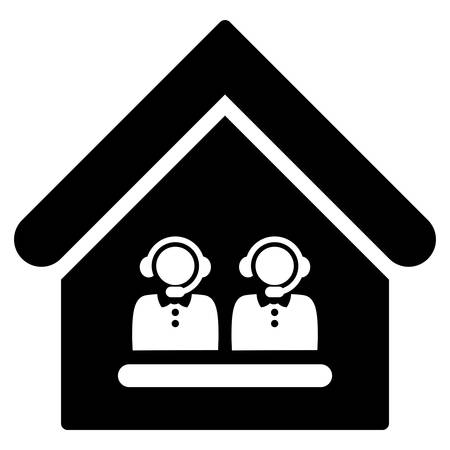 call center office: Call Center Office vector icon. Flat black symbol. Pictogram is isolated on a white background. Designed for web and software interfaces.