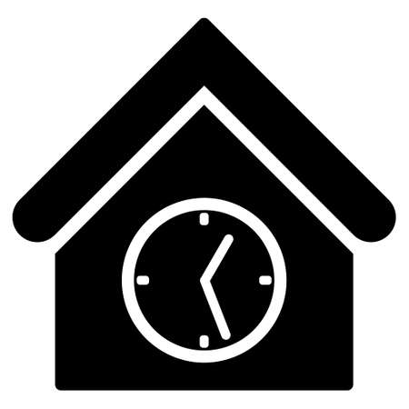 clockface: Clock Building vector icon. Flat black symbol. Pictogram is isolated on a white background. Designed for web and software interfaces.