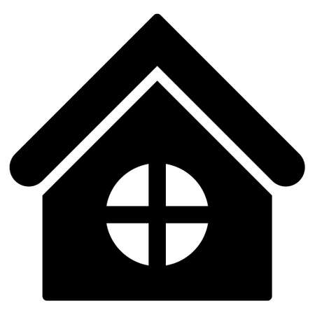 homeland: House With Round Window vector icon. Flat black symbol. Pictogram is isolated on a white background. Designed for web and software interfaces.