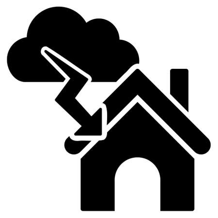 fiasco: Storm Building vector icon. Flat black symbol. Pictogram is isolated on a white background. Designed for web and software interfaces.