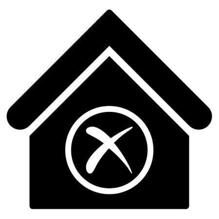 erase: Erase Building glyph icon. Flat black symbol. Pictogram is isolated on a white background. Designed for web and software interfaces. Stock Photo