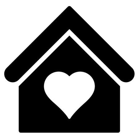 brothel: Love House glyph icon. Flat black symbol. Pictogram is isolated on a white background. Designed for web and software interfaces.