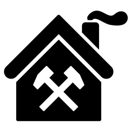forge: Forge Building glyph icon. Flat black symbol. Pictogram is isolated on a white background. Designed for web and software interfaces. Stock Photo