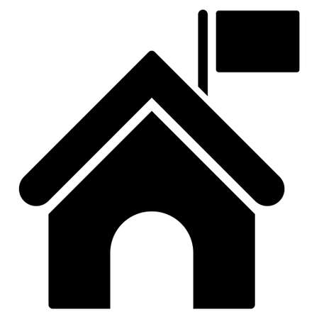administer: Government Building With Flag glyph icon. Flat black symbol. Pictogram is isolated on a white background. Designed for web and software interfaces. Stock Photo