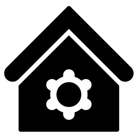 pictograph: Industrial Building glyph icon. Flat black symbol. Pictogram is isolated on a white background. Designed for web and software interfaces.