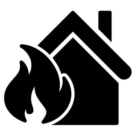 misadventure: Realty Fire Disaster glyph icon. Flat black symbol. Pictogram is isolated on a white background. Designed for web and software interfaces.