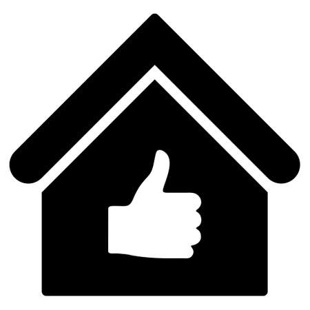 proceed: Thumb Up Building glyph icon. Flat black symbol. Pictogram is isolated on a white background. Designed for web and software interfaces. Stock Photo