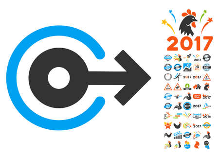 Log Out pictograph with bonus 2017 new year pictograms. Glyph illustration style is flat iconic symbols,modern colors.