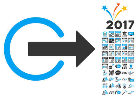 logout: Logout icon with bonus 2017 new year pictures. Glyph illustration style is flat iconic symbols,modern colors.