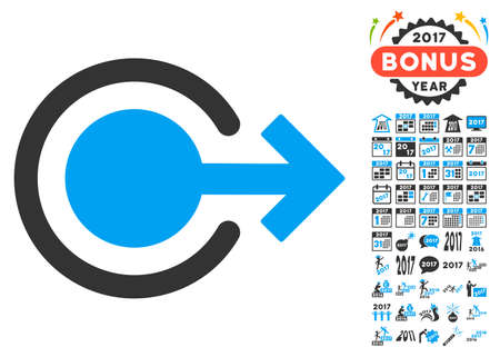 turn of the year: Logout icon with bonus 2017 new year clip art. Glyph illustration style is flat iconic symbols,modern colors.