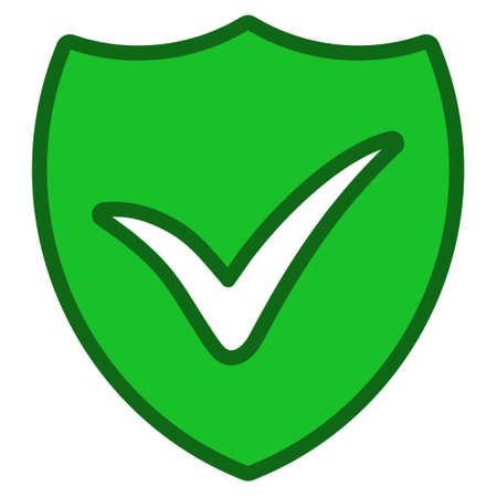 validate: Shield Ok interface icon. Glyph pictograph style is a flat symbol with contour edges.
