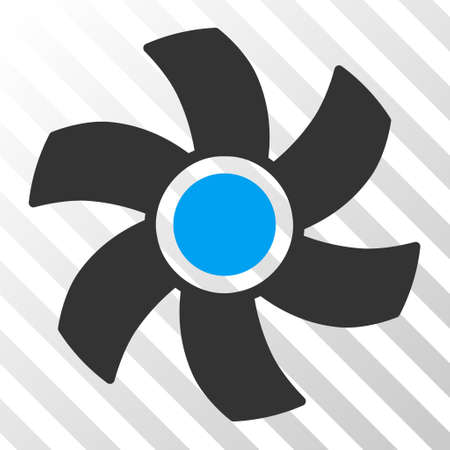 rotor: Rotor vector pictograph. Illustration style is flat iconic bicolor blue and gray symbol on a hatched transparent background.