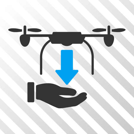 drop down: Unload Drone Hand vector pictogram. Illustration style is flat iconic bicolor blue and gray symbol on a hatched transparent background. Illustration