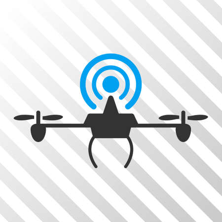 Wifi Repeater Drone vector pictogram. Illustration style is flat iconic bicolor blue and gray symbol on a hatched transparent background. Illustration