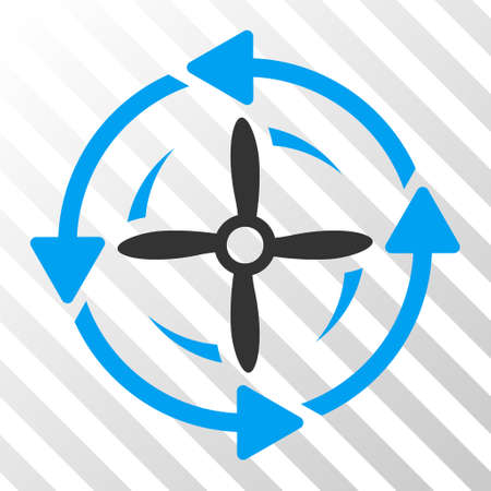 Screw Rotation vector icon. Illustration style is flat iconic bicolor blue and gray symbol on a hatched transparent background.