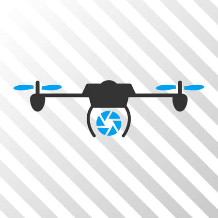 Shutter Spy Airdrone vector pictograph. Illustration style is flat iconic bicolor blue and gray symbol on a hatch transparent background.