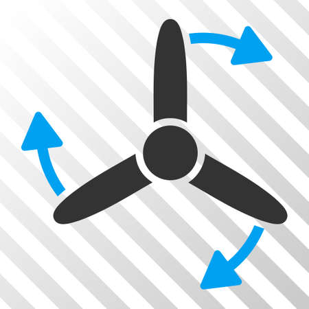 airscrew: Three Bladed Screw Rotation vector pictograph. Illustration style is flat iconic bicolor blue and gray symbol on a hatched transparent background.