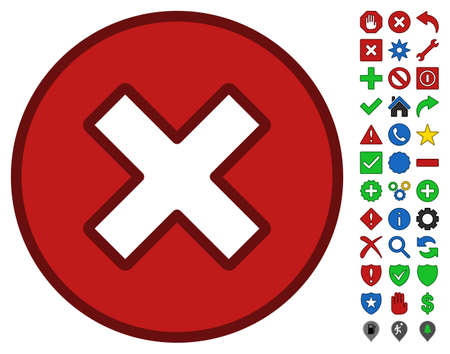disagree: Cancel interface pictogram with bright toolbar icon clip art. Vector pictograph style is flat symbols with contour edges. Illustration