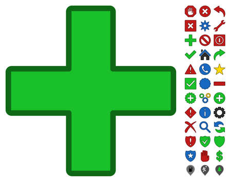 Green Plus toolbar pictogram with bright toolbar icon set. Vector pictograph style is flat symbols with contour edges.