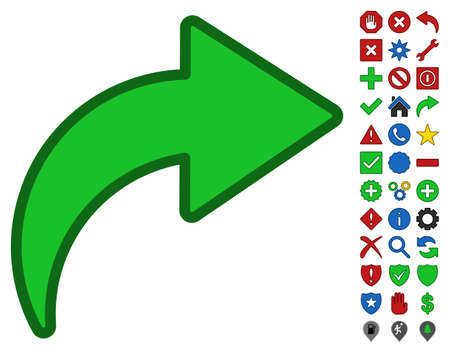 redo: Redo toolbar icon with bright toolbar icon collection. Vector pictograph style is flat symbols with contour edges.
