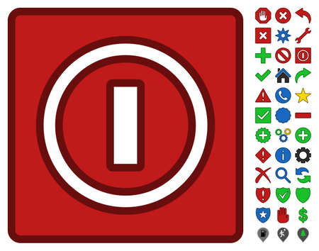 Turn Off Switch interface icon with bright toolbar icon collection. Vector pictograph style is flat symbols with contour edges. Illustration
