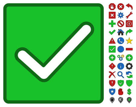 valid: Valid Checkbox interface toolbar pictogram with bright toolbar icon clip art. Vector pictograph style is flat symbols with contour edges.