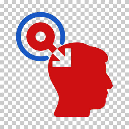 plugin: Blue And Red Brain Interface Plug-In interface toolbar pictogram. Vector pictograph style is a flat bicolor symbol on chess transparent background. Illustration