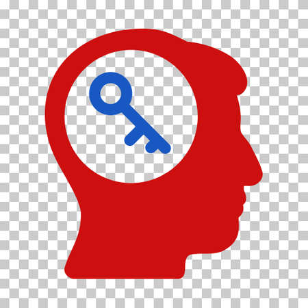 latchkey: Blue And Red Brain Key toolbar icon. Vector pictograph style is a flat bicolor symbol on chess transparent background. Illustration