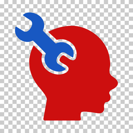 Blue And Red Brain Service Wrench toolbar icon. Vector pictogram style is a flat bicolor symbol on chess transparent background.