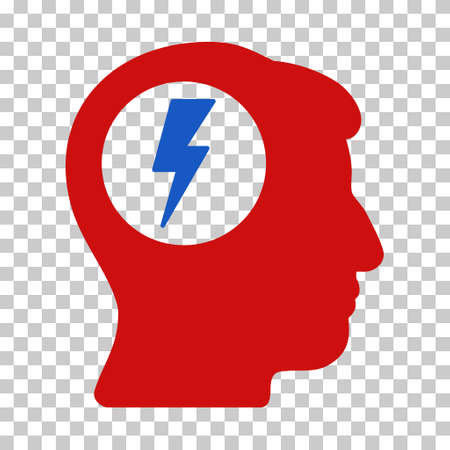 electric shock: Azul y rojo de la descarga eléctrica del cerebro pictograma barra de herramientas. estilo pictograma vector es un símbolo bicolor plano sobre fondo transparente de ajedrez.