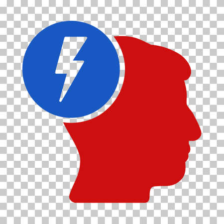 enforce: Blue And Red Brain Electricity interface toolbar icon. Vector pictogram style is a flat bicolor symbol on chess transparent background.