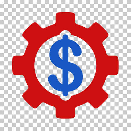 Blue And Red Development Cost interface toolbar pictogram. Vector pictogram style is a flat bicolor symbol on chess transparent background.