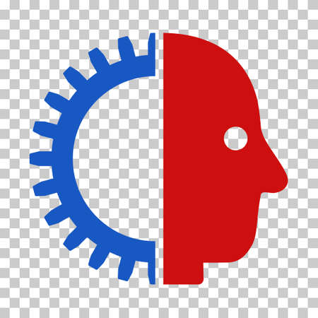 artificial model: Blue And Red Cyborg Head interface toolbar icon. Vector pictograph style is a flat bicolor symbol on chess transparent background.