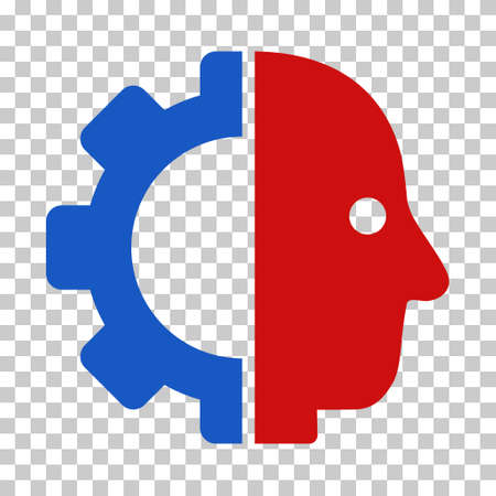 Blue And Red Cyborg Head interface pictogram. Vector pictogram style is a flat bicolor symbol on chess transparent background.