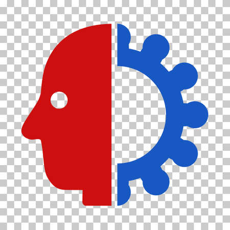 Blue And Red Cyborg Head toolbar pictogram. Vector pictograph style is a flat bicolor symbol on chess transparent background. Illustration