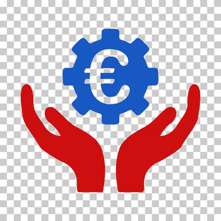 Blue And Red Euro Maintenance Hands interface toolbar pictogram. Vector pictograph style is a flat bicolor symbol on chess transparent background. Illustration