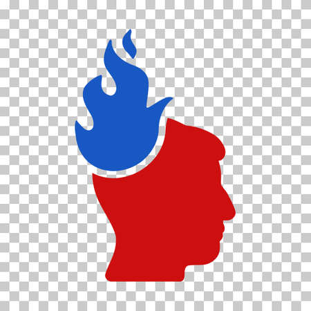 ruch: Blue And Red Fired Head interface icon. Vector pictogram style is a flat bicolor symbol on chess transparent background. Illustration