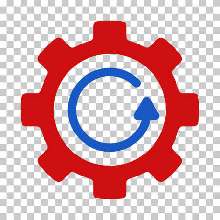 synchronize: Blue And Red Gear Rotation Direction interface icon. Vector pictogram style is a flat bicolor symbol on chess transparent background. Illustration