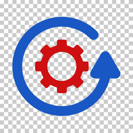 synchronize: Blue And Red Gearwheel Rotation Direction interface toolbar pictogram. Vector pictograph style is a flat bicolor symbol on chess transparent background. Illustration