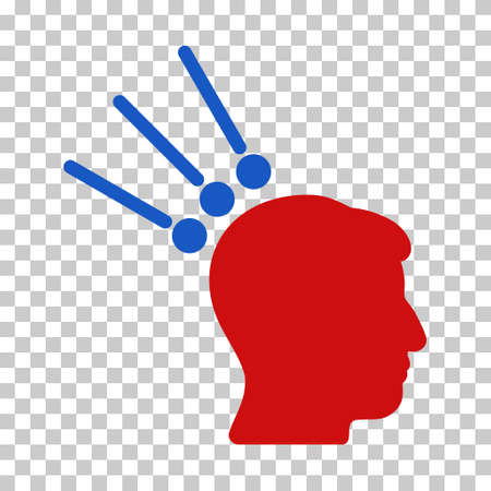 Blue And Red Head Test Connectors toolbar pictogram. Vector pictograph style is a flat bicolor symbol on chess transparent background.