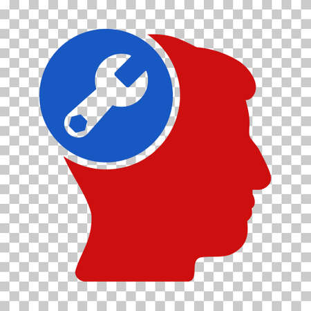 Blue And Red Head Wrench Repair interface toolbar pictogram. Vector pictogram style is a flat bicolor symbol on chess transparent background. Illustration