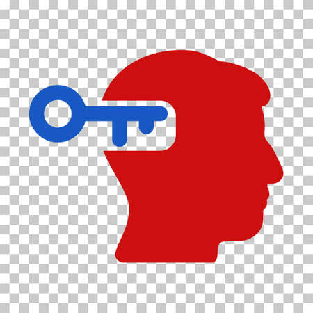 Blue And Red Intellect Key interface toolbar pictogram. Vector pictogram style is a flat bicolor symbol on chess transparent background.