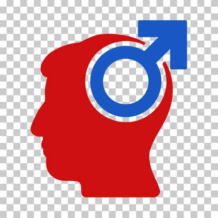 potency: Blue And Red Intellect Potency toolbar pictogram. Vector pictograph style is a flat bicolor symbol on chess transparent background.