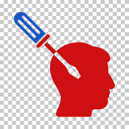 Blue And Red Intellect Screwdriver Tuning toolbar icon. Vector pictograph style is a flat bicolor symbol on chess transparent background.