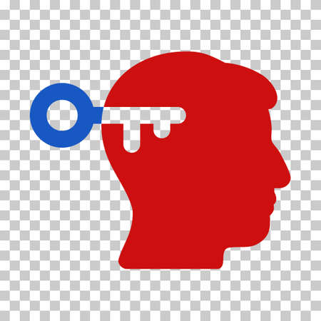 latchkey: Blue And Red Mind Key interface pictogram. Vector pictogram style is a flat bicolor symbol on chess transparent background.