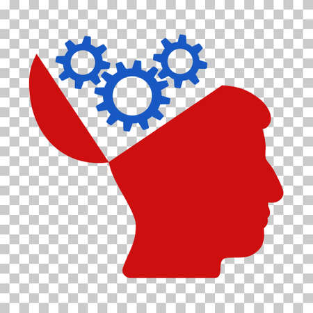 red  open: Blue And Red Open Mind Gears interface pictogram. Vector pictograph style is a flat bicolor symbol on chess transparent background.