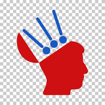 Blue And Red Open Mind Interface toolbar icon. Vector pictogram style is a flat bicolor symbol on chess transparent background.